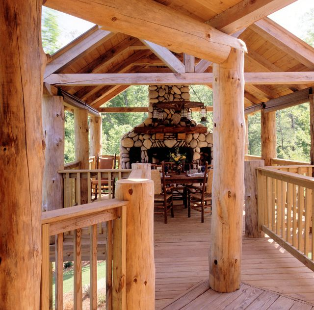 This unforgettable log cabin outdoor space is fabulous!