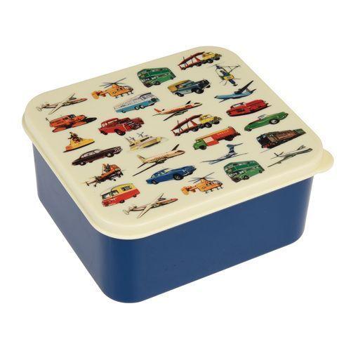Rexinter broodtrommel Lunchbox Vintage Transport blauw - Ikbenzomooi.nl