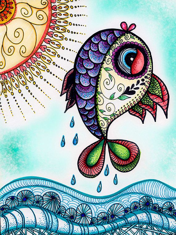 This fish is the perfect copy of one of my drawings I pinned 2 weeks ago (http://www.pinterest.com/pin/212372938651942780/). Even the waterdrops are the same... :(( I can understand taking inspiration, but this is not inspiration...