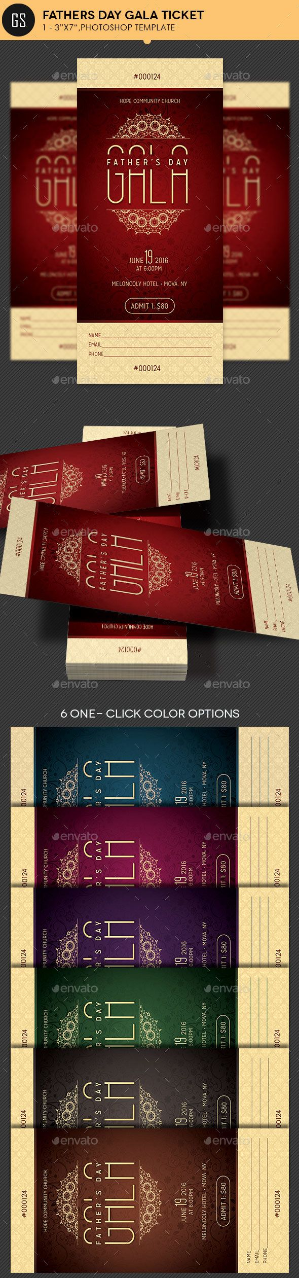 Fathers Day Gala Ticket Template PSD. Download here: https://graphicriver.net/item/fathers-day-gala-ticket-template/15930913?ref=ksioks