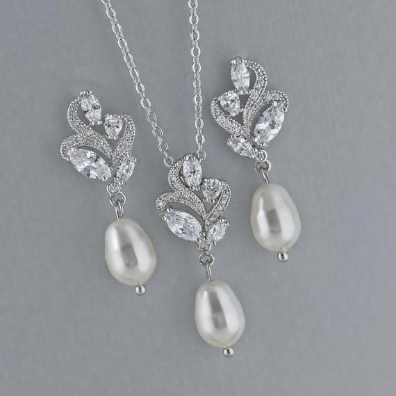 Pearl Earrings & Necklace Set, Crystal Bridal Jewelry Set, Wedding Jewelry Set, SilverJewelry Set, Bridesmaid jewelry set, FLEUR