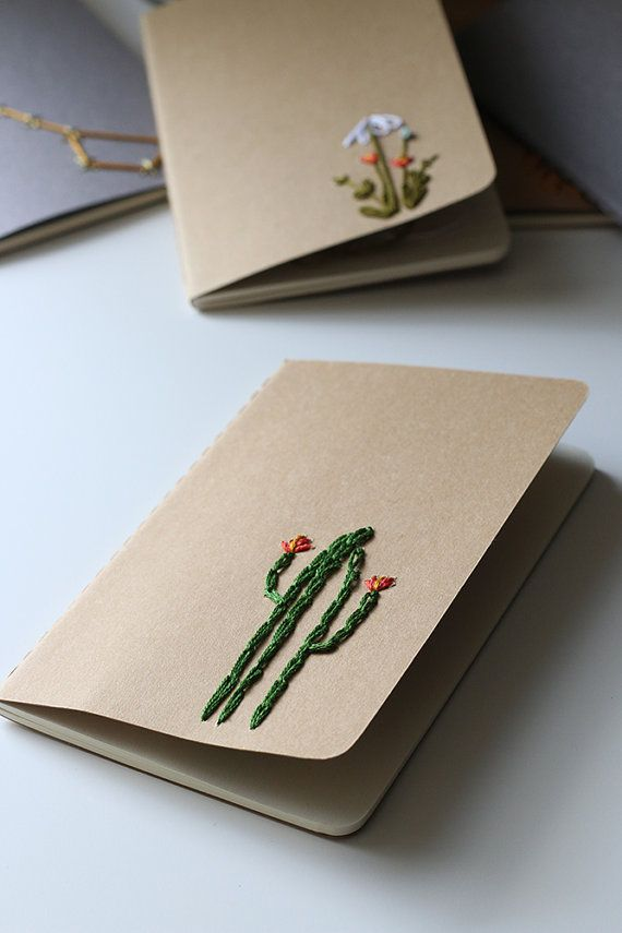 Cactus hand embroidered moleskine pocket notebook by PoppyandFern                                                                                                                                                                                 Mais