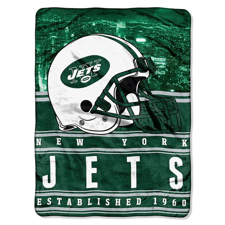 Officially Licensed NFL Stacked Silk Touch Raschel Throw - Jets