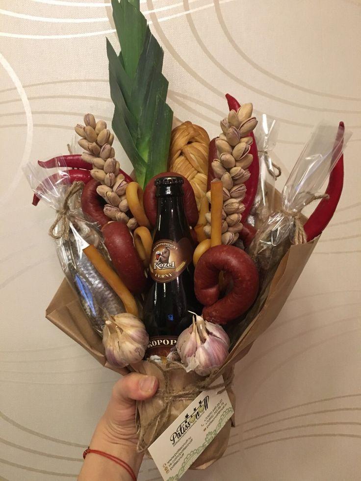 Bouquet with beer Букет с пивом, воблой, колбасками, перцем, луком, сыром и орешками