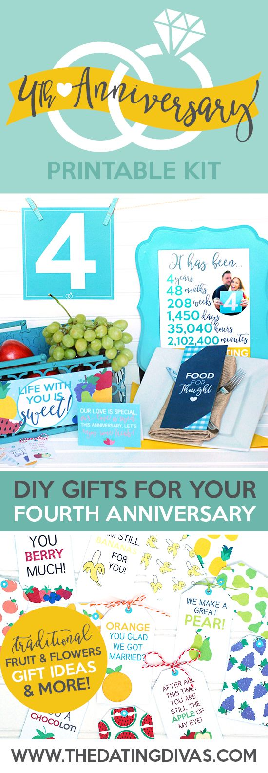 Super easy ideas for a fourth anniversary gift!! So cute! I love that they include a traditional fruit and flowers gift too.