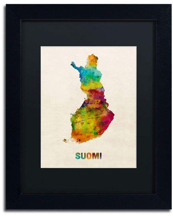 Michael Tompsett 'Finland Watercolor Map (Suomi)' Matted Framed Art – 14 x 11