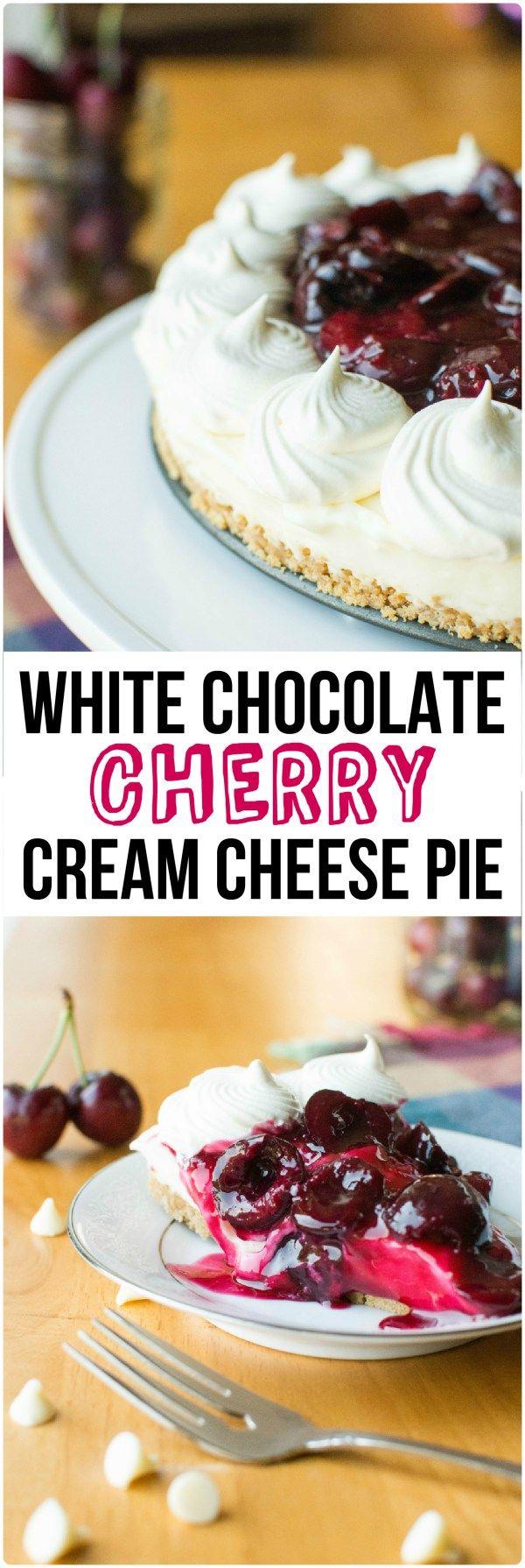 White Chocolate Cherry Cream Cheese Pie | A baJillian Recipes