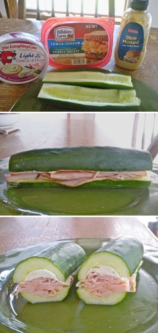 Cucumber Sandwich! Scoop out the guts and fill with your favorite sandwich ingredients.
