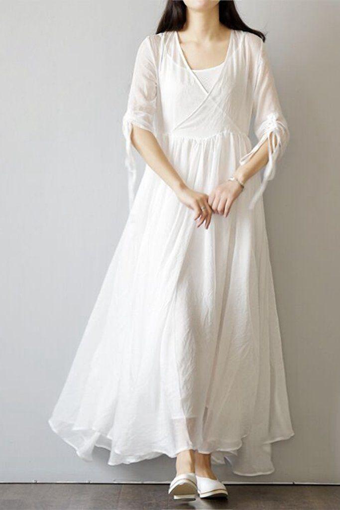 320faaf528ce1 ... white dresses for women & vintage dresses. Cute National Plus Sweep  Beach Dress Q1556