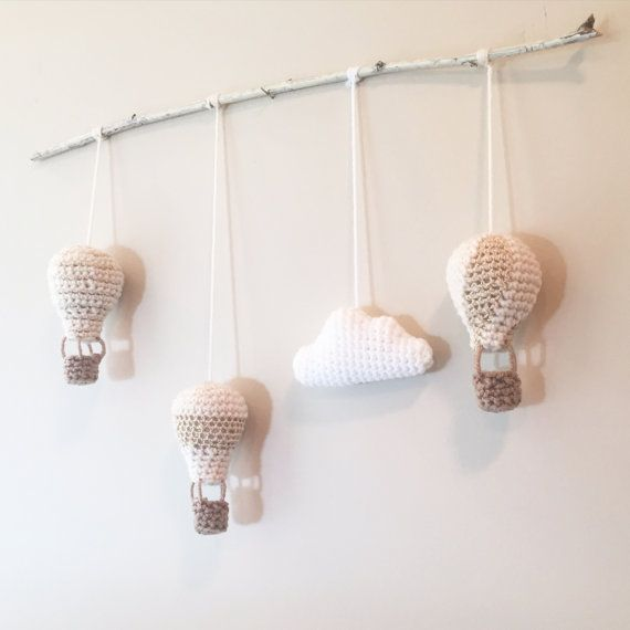 Hot Air Balloon Baby Nursery Mobile by WoodlandPurl on Etsy