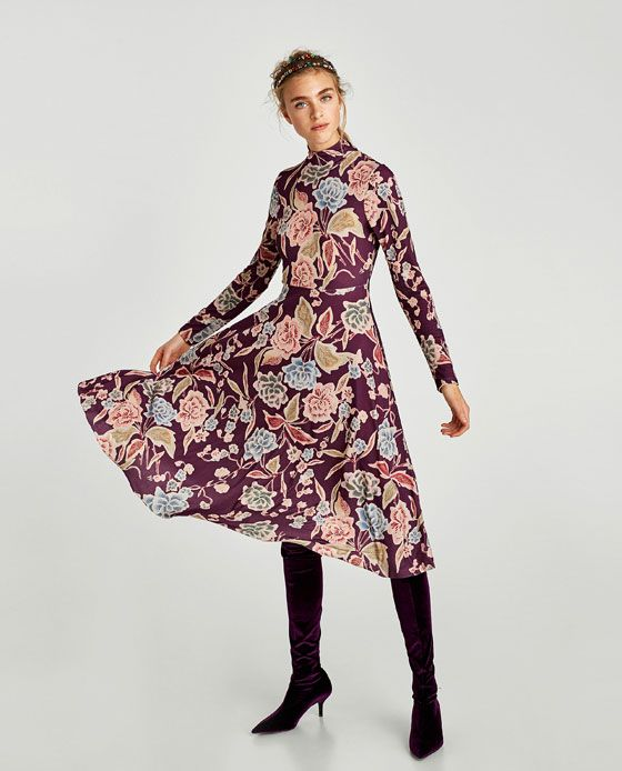 Langes rosa kleid zara