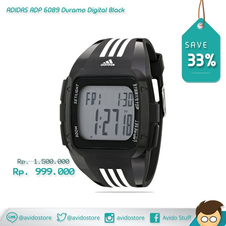 Information about Adidas Men's ADP 6089 Duramo Digital Black Watch Original :   housing plastic, glass, plastic, sporty style, polyurethane strap, alarm clock signal indicator data fully automatic calendar, color strap / pull black, white color of the dial, the other 12/24 hour mode, type Quartz movement - battery, digital type, shape case square, waterproof 50 m, electric lighting backlight, stopwatch with an accuracy of 1/100 seconds, max. running time max. 24 hours, the number of alarms 1