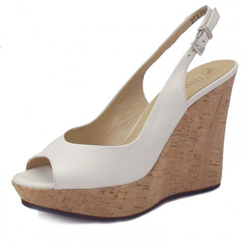 Peter Kaiser Riga Ladies Wedge Sandals in White Leather WHITE 5