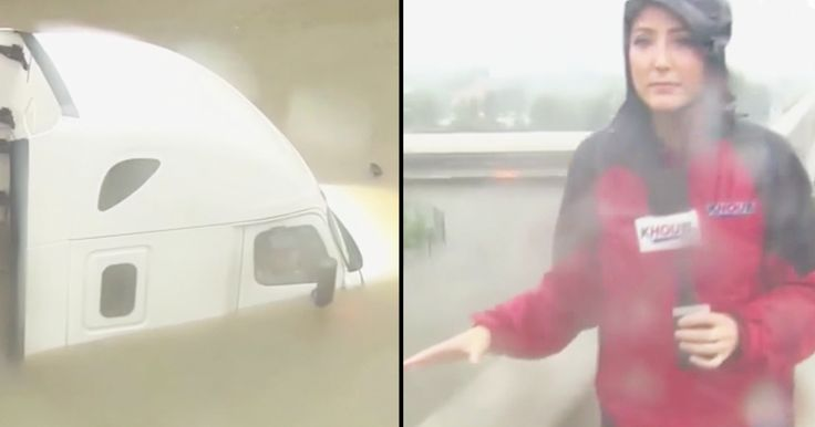 KHOU Reporter Brandi Smith was broadcasting on live tv in Texas about Hurricane Harvey when she noticed something horrible. She saw a man trapped in his tractor trailer below the bridge she was standing on. It looked like the truck was in about 10 feet of water.  The flood waters continued to rise so the news reporter stopped her broadcast to flag down people to help. She was able to stop Harris County Sheriff deputies and get them to help the stranded man. The sheriff quickly called in a…