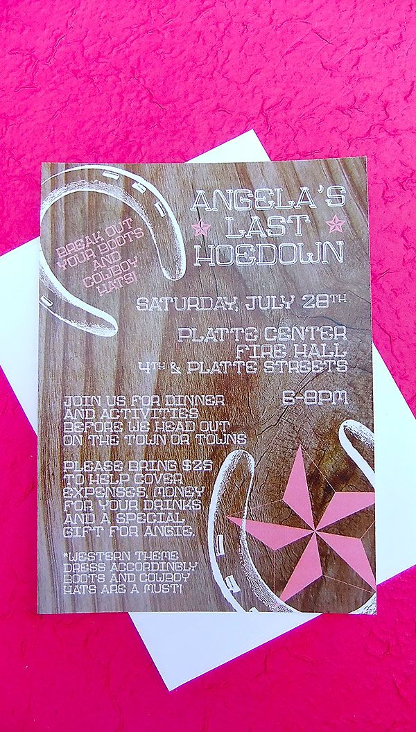 Hoedown Bachelorette Party Invite, Country theme party invite, wood grain invite, horse shoes, Emily Edson Desgin, Bridal Shower Invitation, Purchase these at https://www.etsy.com/listing/111099470/hoedown-bachelorette-party-invite-25?ref=shop_home_active