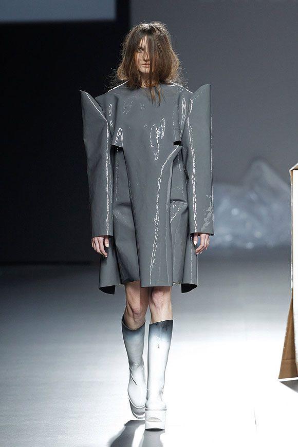 Sculptural Fashion - grey plastic dress; experimental fashion design // Ernesto Naranjo