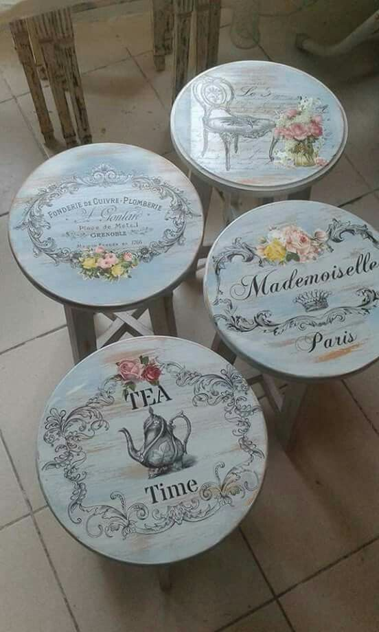 Painted bar stools with French transfers / stencils