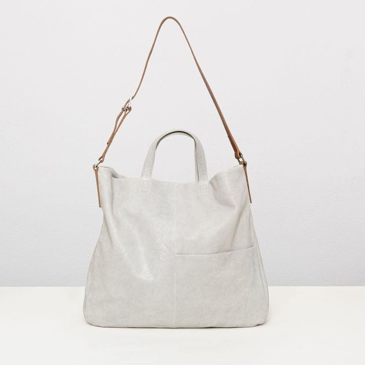 Soft leather tote bag in pale grey | Ally Capellino | Ally Capellino