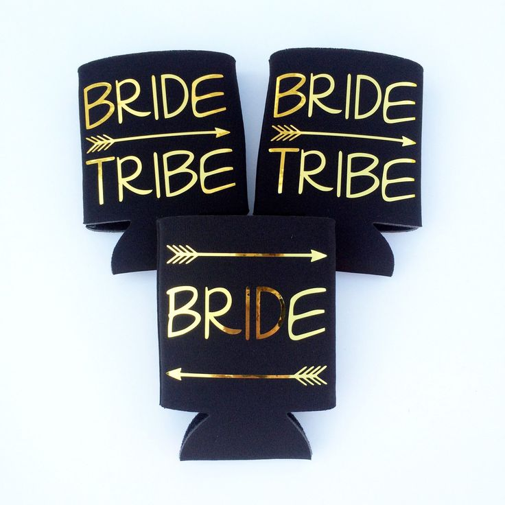 bride tribe beer koozies by TheCraftyEngineer | fun bachelorette party ideas | http://emmalinebride.com/planning/fun-bachelorette-party-ideas/