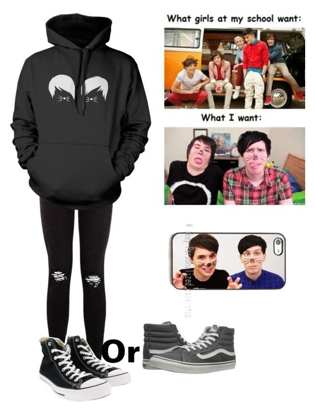 Dan and Phil Concert tonight by summer0401 on Polyvore featuring polyvore fashion style Vans Converse clothing