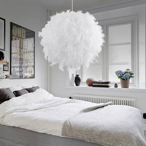 40cm Chandeliers Warm Romantic Scandinavian Style Feather Ceiling Lamp For Restaurant Living Room Lights Wedding Room Decoration Gift Wish Bedroom Ceiling Light Feather Lamp Bedroom Pendant