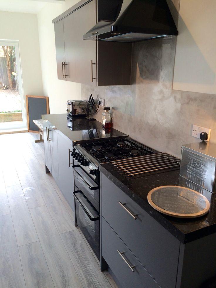 Venetian plaster kitchen , grey units