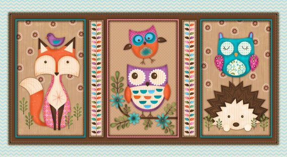 Woodland Critters Fabric Panel Fox Owl Hedgehog Quilting