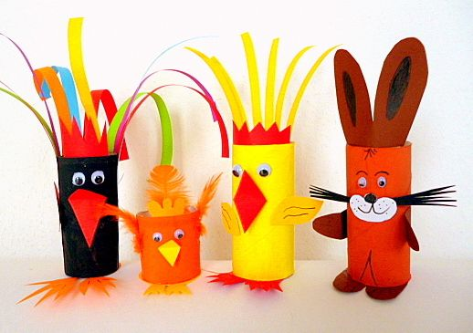 Basteln5/basteln-Ostern-Hahn-Henne-Hase-Kueken, #knutselen, kinderen, basisschool, kleuters, dieren van wc-rol met gratis template, #craft, tp-roll, animals, recycle