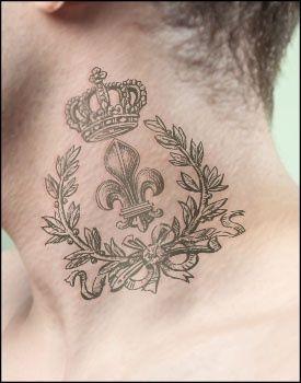 Fleur-de-lis tattoo design with crown on the neck