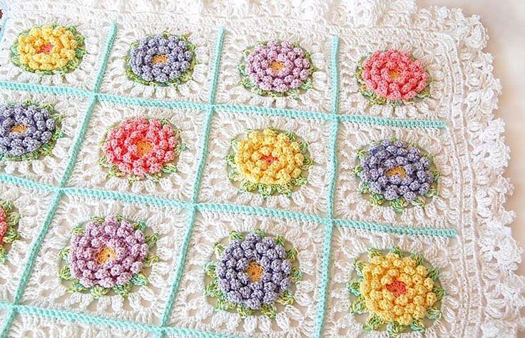 Fiore modello coperta uncinetto bambino afgano / Crochet