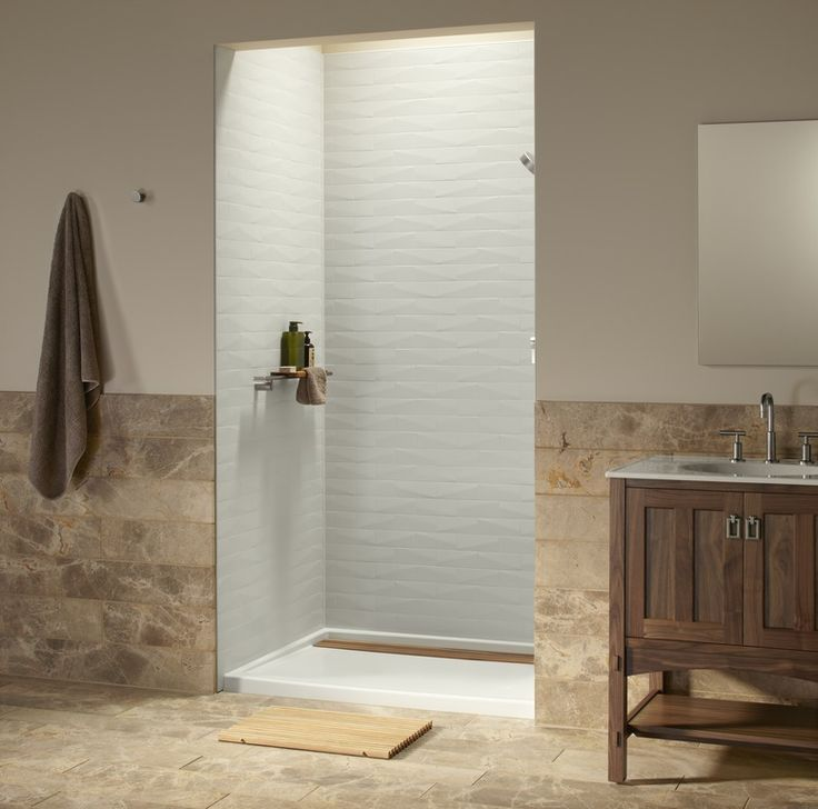 acrylic panels for bathroom walls%0A Choreograph shower walls and accessories make even petite showers  wonderfully efficient