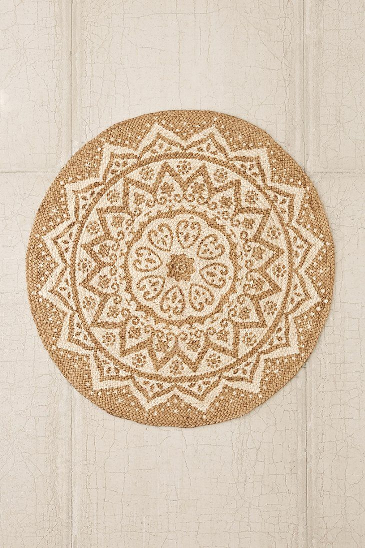 Urban outfitters inspiration. Find an outdoor circle rug then stencil and paint.