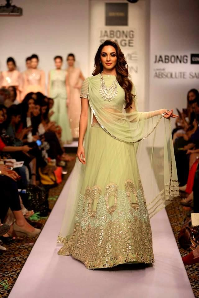 Break away from the #norms with this #apple #green #lehenga from #RidhiMehra at #LakmeFashionWeek #SpringSummer15