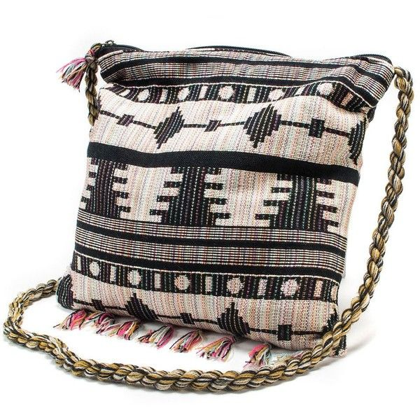 MUK LUKS Striped Aztec Square Crossbody Bag (Black) ($38) ❤ liked on Polyvore featuring bags, handbags, shoulder bags, purses, bolsas, black, crossbody handbags, cross body shoulder bags, crossbody e black handbags