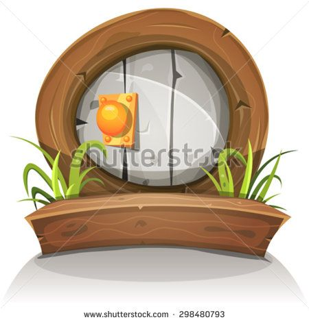 Cartoon Wooden And Stone Rounded Door For Ui Game/ Illustration of a cartoon comic dwarf like funny rounded stone door with wooden doorframe for fantasy ui game