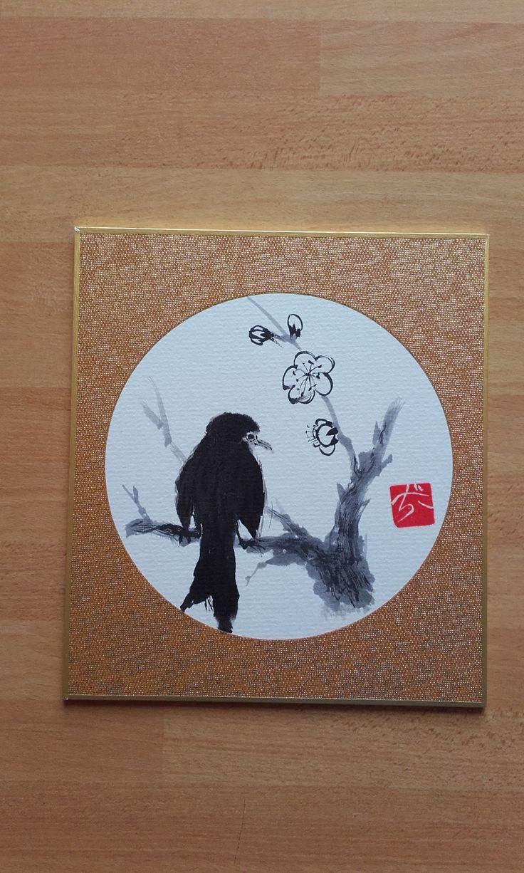 Uccellino su pruno - Sumi-e