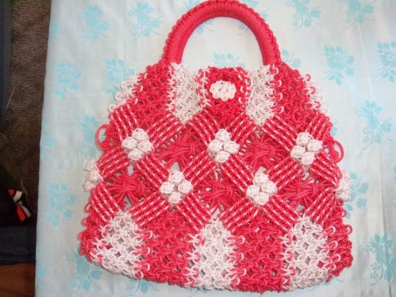 Lovely handmade macrame handbag. 10 in from closure to bottom, 11 1/2 wide.