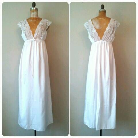 Pretty White Lace Top Nightgown Long Silky by RackedVintage