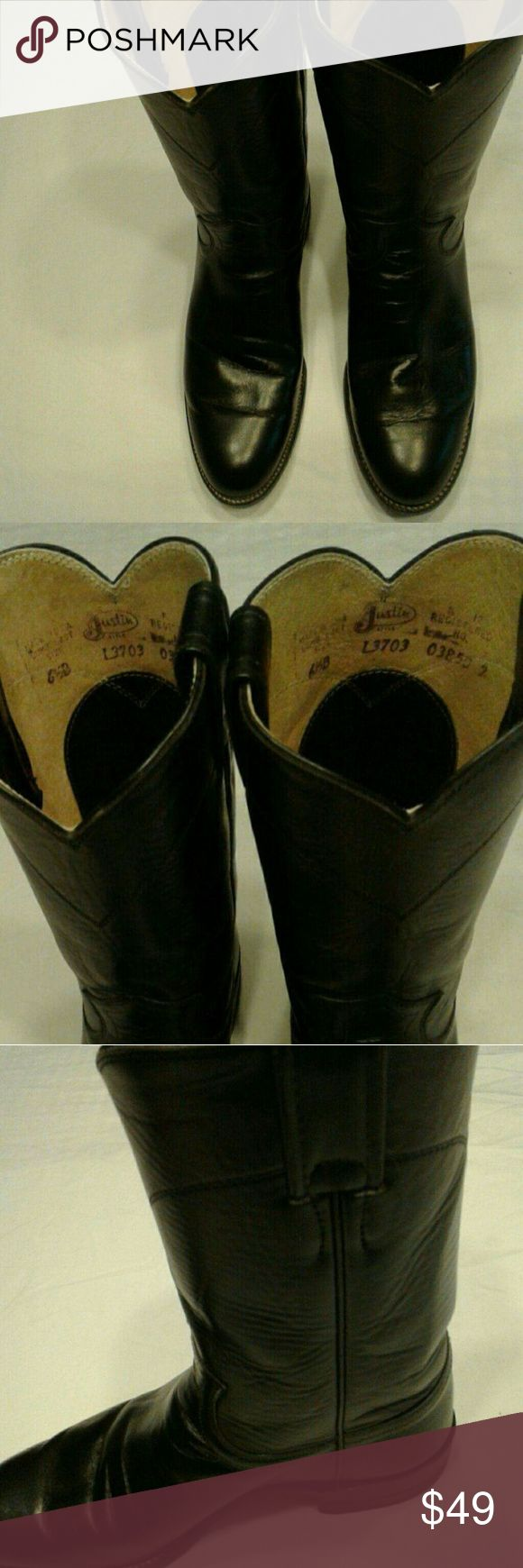 Justin Roper Black Leather Cowboy Boots Rarely worn Justin Ropers in great condition at a great price. Size 6B. If you have not worn Justin Ropers before, please note that they run at least a half size large.  While we like to take offers on most items, this item is priced FIRM.  Thank you! Justin Boots Shoes Heeled Boots