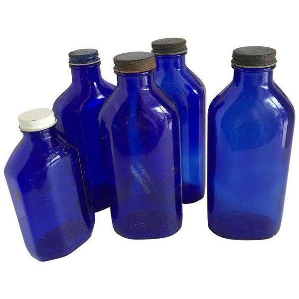 Vintage Blue Glass Medicine Bottles, Set of Five (62 CAD) ❤ liked on Polyvore featuring home, kitchen & dining, serveware, bottles & jars & jugs, medicine bottle, glass serveware, blue glass jug, blue medicine bottles and blue glass bottles