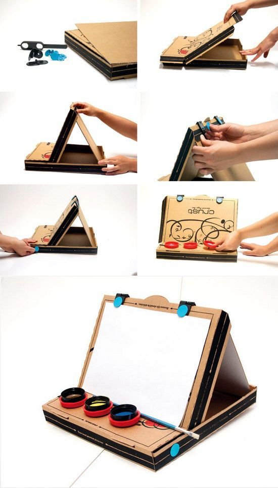 Pizza box easel | 15 Awesome Things You Can Make With A Stupid Pizza Box