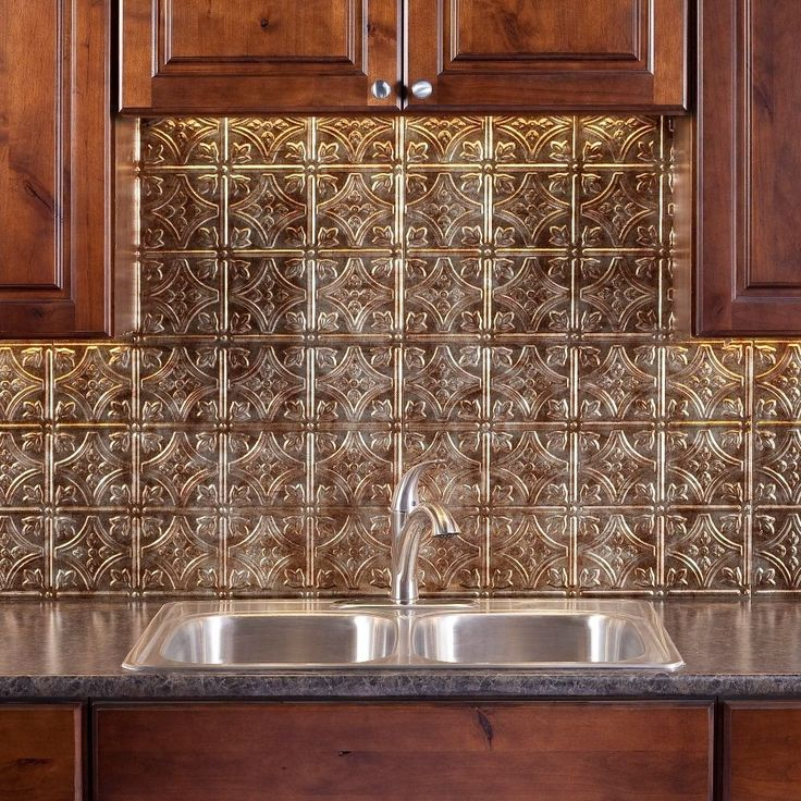 Fasade Traditional Style #1 Bermuda Bronze 18-inch x 24-inch Backsplash Panel (Sample Traditional 1 Bermuda Bronze 6 in. x 6 in.), Gold