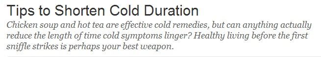 Tips to Shorten Cold Duration