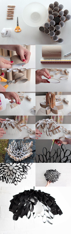 Lámpara reciclando tubos de cartón / Via tutsplus