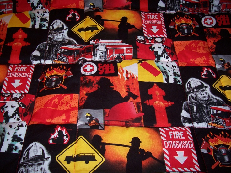 Handmade FIRETRUCKS And FIREMAN Large Baby/Toddler Quilt-Newly Made In 2013. $38.00, via Etsy.