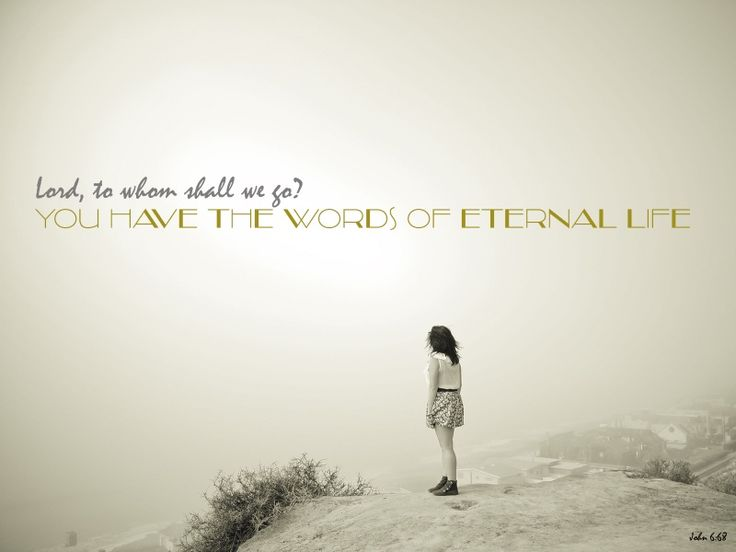 """Simon Peter answered him, """"Lord, to whom shall we go? You have the words of eternal life. (John 6:68)"""