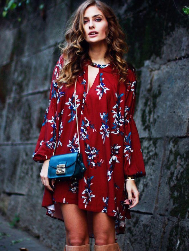 #AdoreWe #SheIn Dresses - SheIn Wine Red Oxblood Baggy Long Sleeve Floral Flowery Dress - AdoreWe.com
