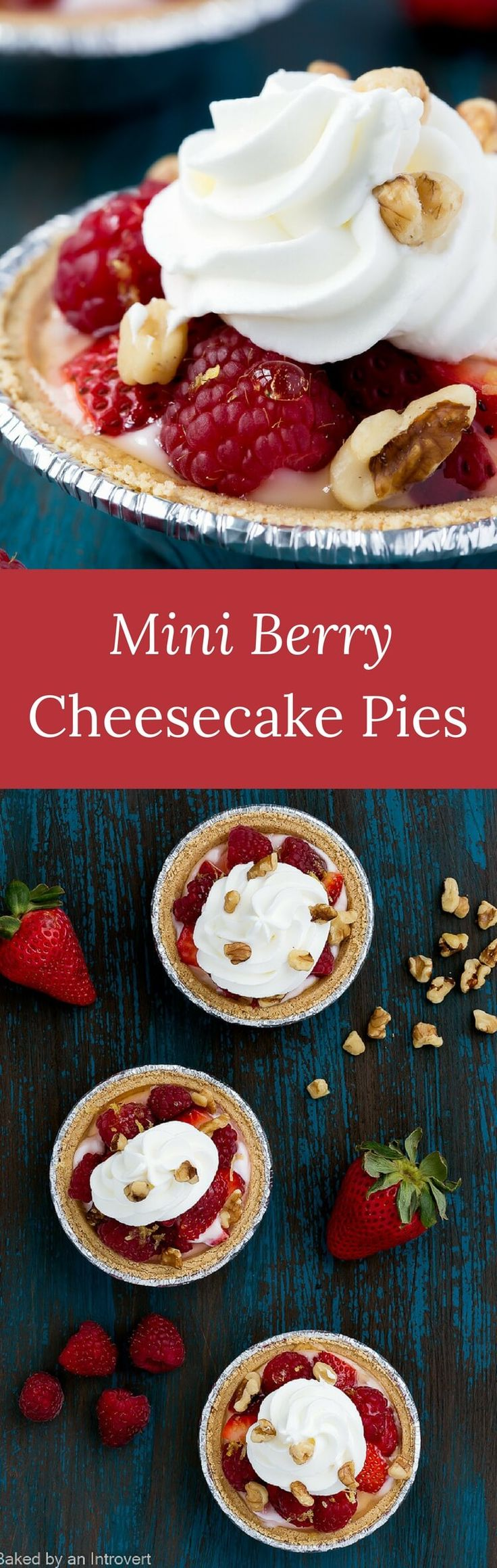 Simple and quick to put together, Mini Berry Cheesecake Pies are a flavorful dessert can be ready in no time.  via @introvertbaker
