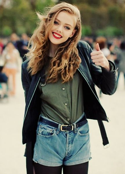high waisted shorts. tights. green button up. red lip. jacket.
