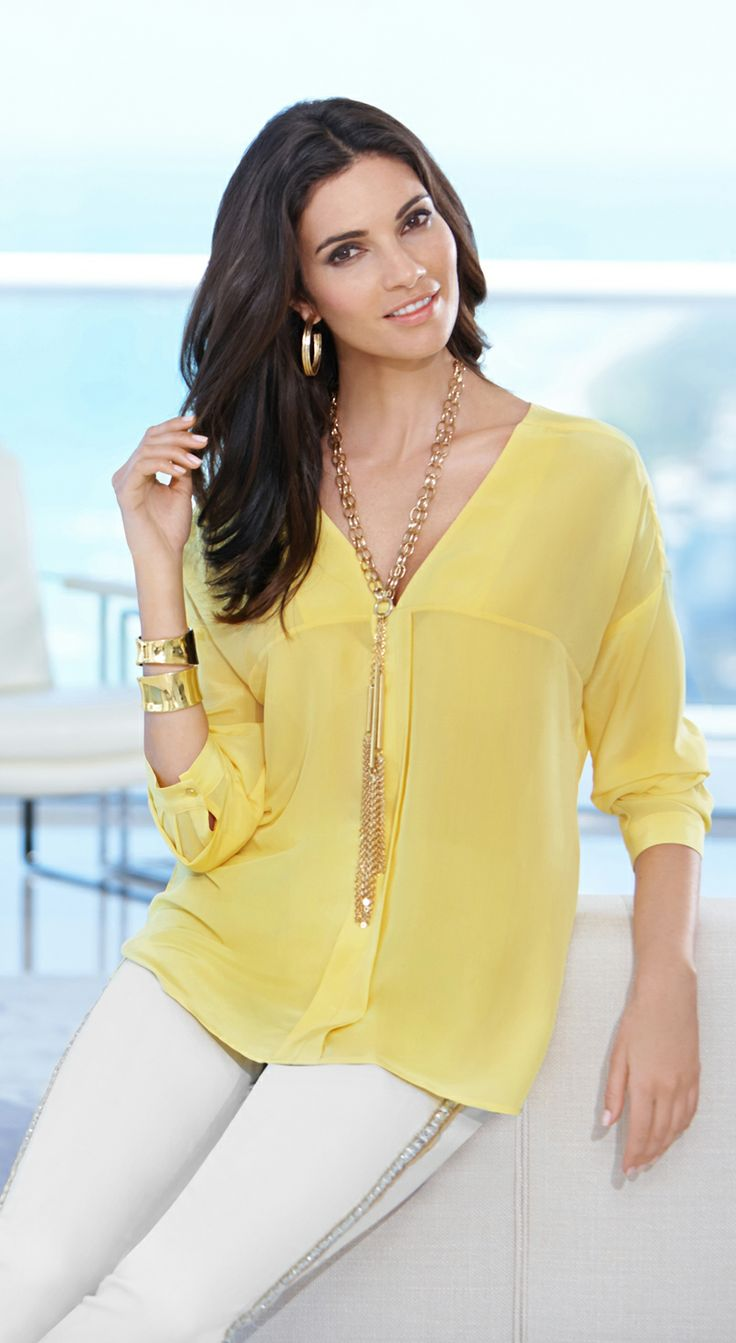 Black Label by Chico's Center Detail Tunic. Sunny Side Up: Silky. Breezy. Hello, sunshine.